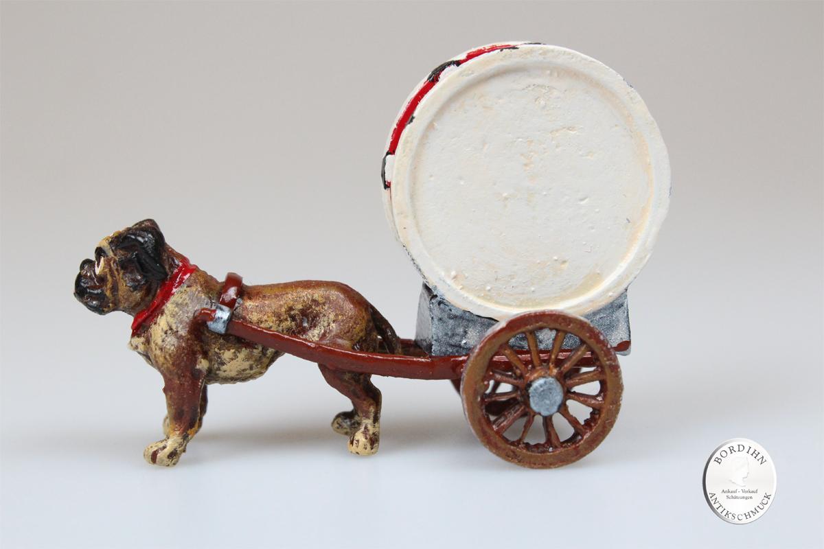 Wiener Bronze Hund Wagerl Trommel Original Skulptur Sammler Kleinkunst