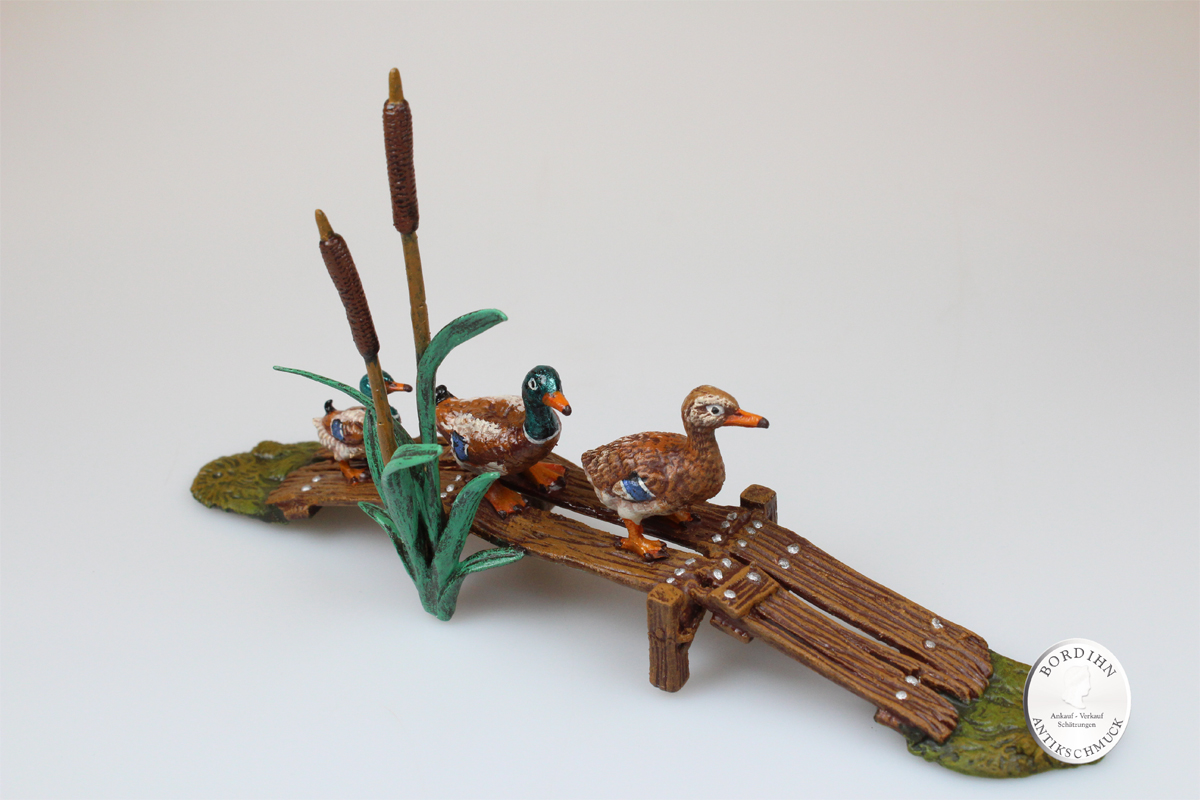 Wiener Bronze Entensteg Original Skulptur Kleinkunst Sammler Geschenk