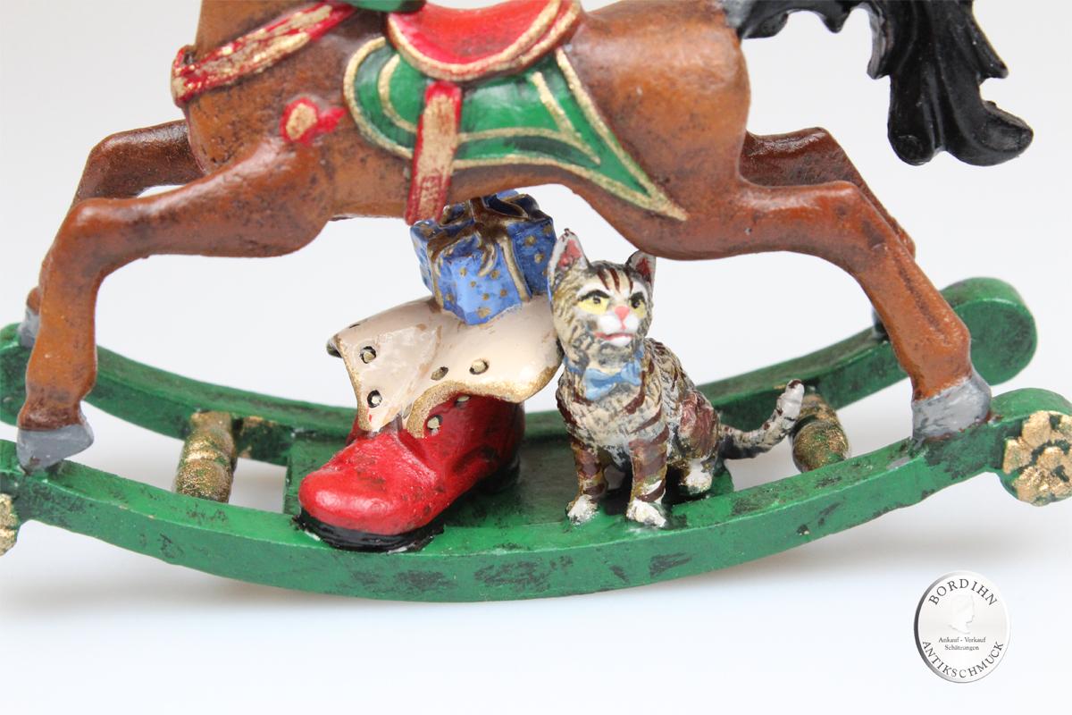 Wiener Bronze Schaukelpferd mit Katze Figur Original Bermann Skulptur