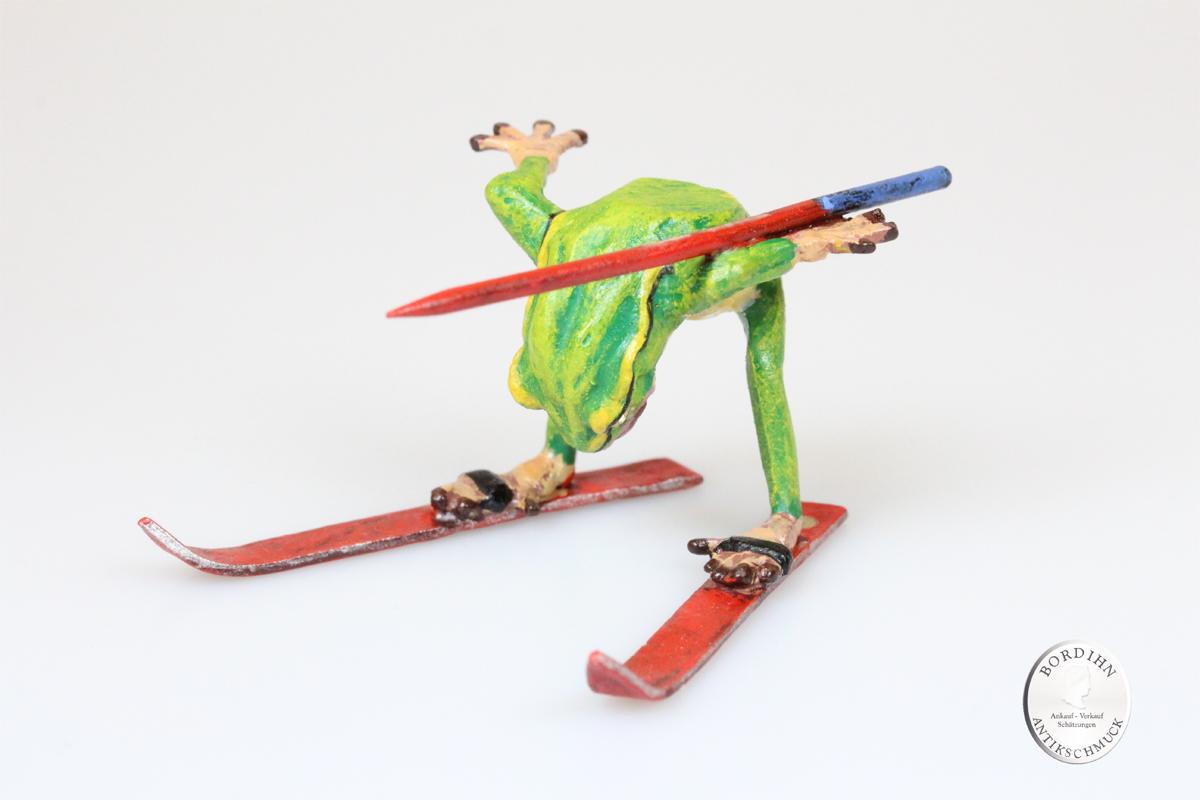 Wiener Bronze Frosch auf Ski Kunst Sammler Figur Fritz Bermann