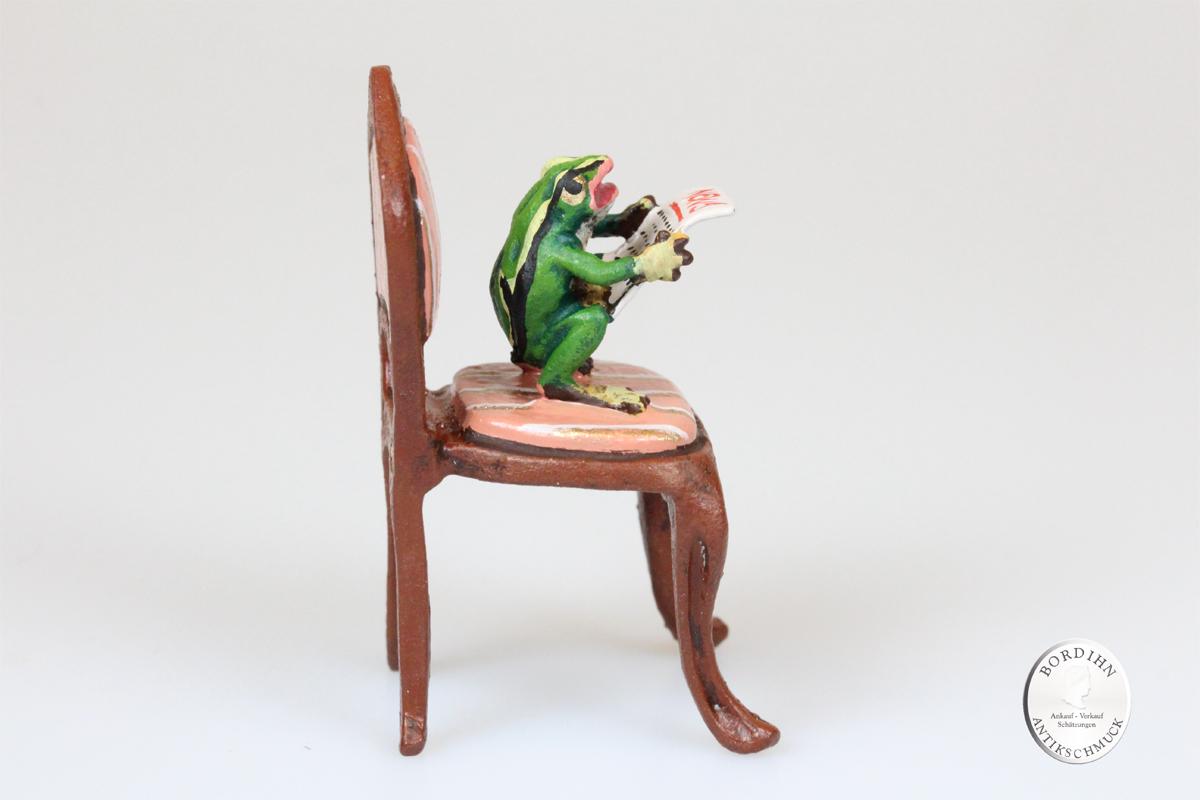 Wiener Bronze Frosch Zeitung Stilsessel Kunst Sammler Figur Fritz Bermann