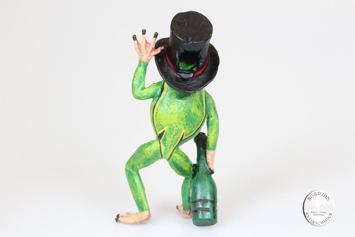 Wiener Bronze Frosch mit Flasche und Zylinder Kunst Sammler Figur Fritz Bermann
