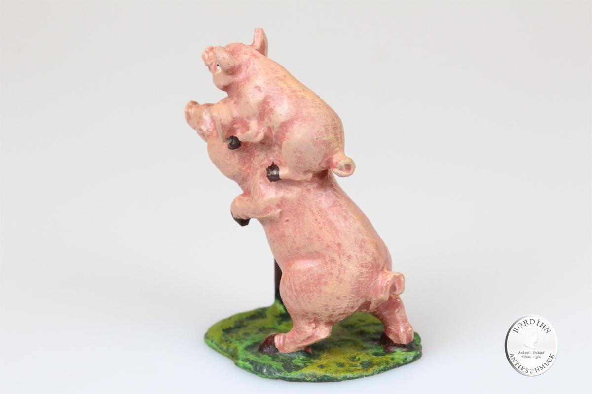 Wiener Bronze Schwein auf Schwein Kunst Sammler Figur Fritz Bermann
