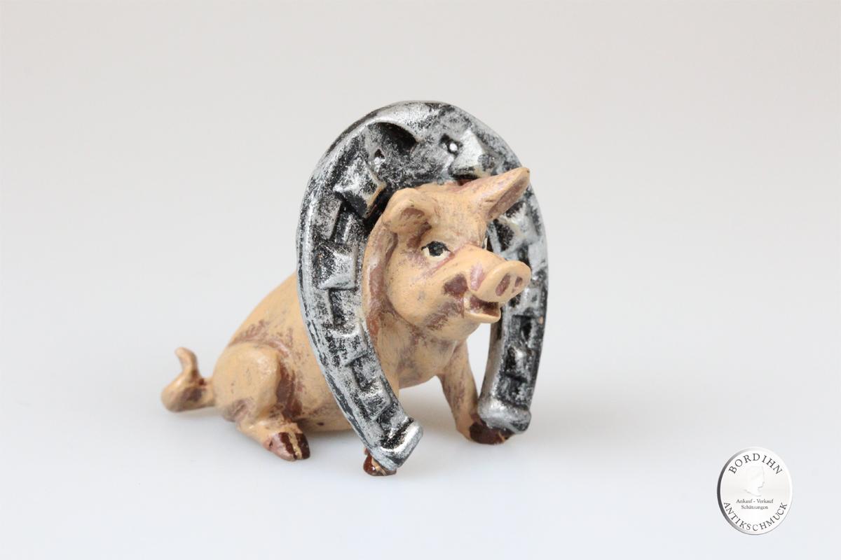 Wiener Bronze Schwein mit Hufeisen Kunst Sammler Figur Fritz Bermann