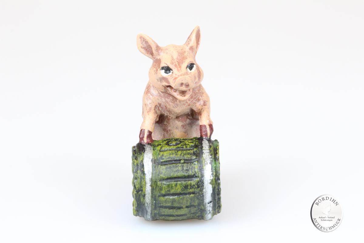 Wiener Bronze Schwein Fass Kunst Sammler Figur Fritz Bermann