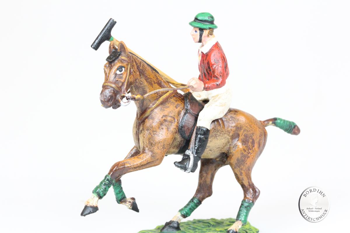 Wiener Bronze Polospieler auf Pferd aufrecht Schläger hinauf Kunst Fritz Bermann
