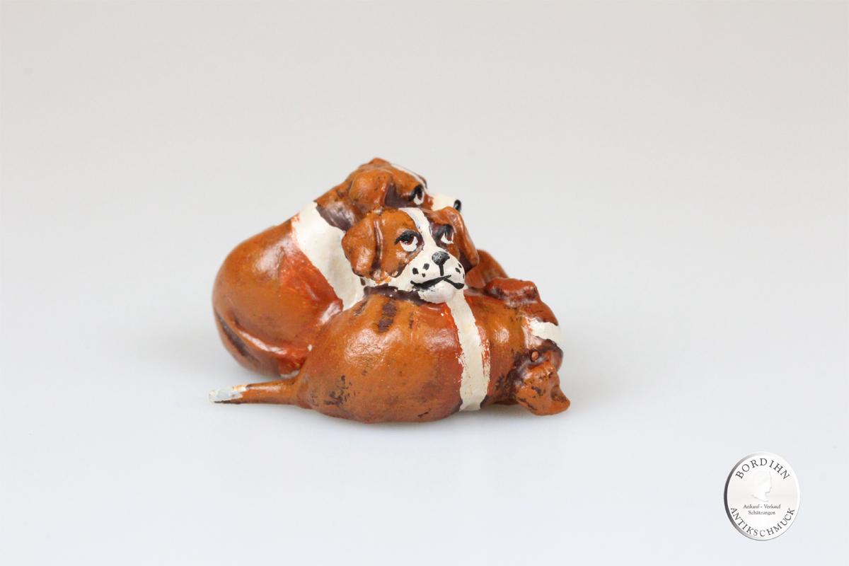 Wiener Bronze Englische Hunde Bullygruppe Kunst Sammler Figur Fritz Bermann