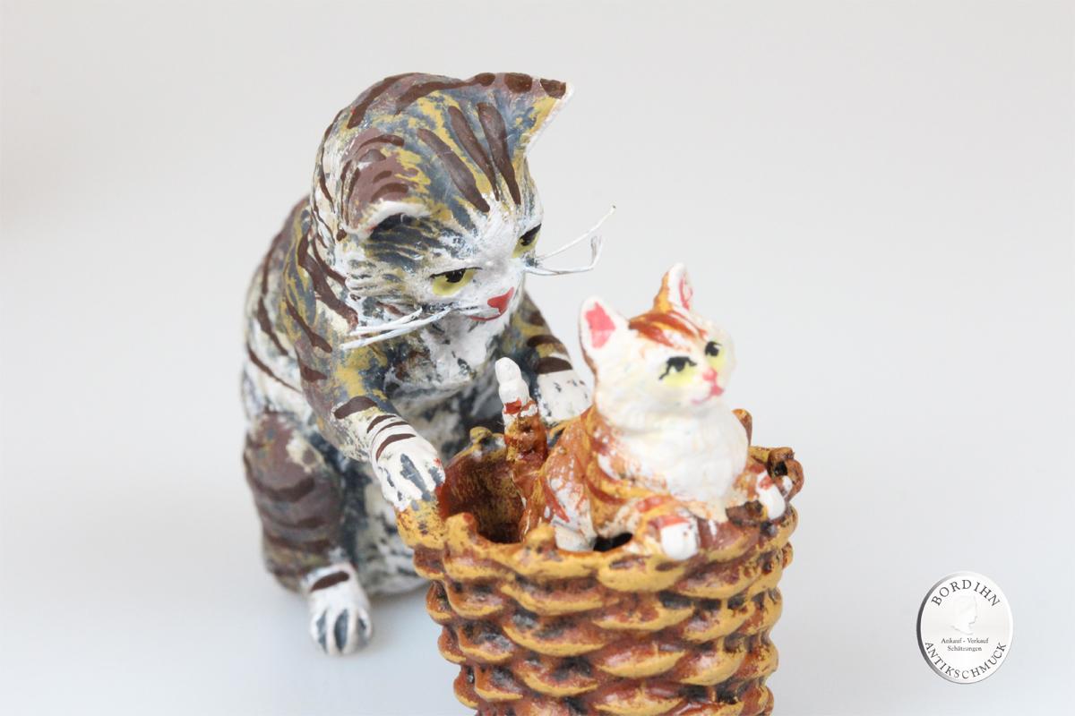 Wiener Bronze Katze Korb Baby Kunst Sammler Figur Fritz Bermann