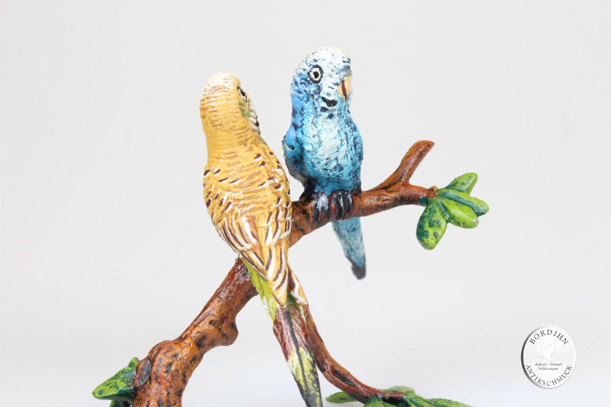 Wiener Bronze 2 Sittiche auf Ast klein Kunst Sammler Figur Fritz Bermann