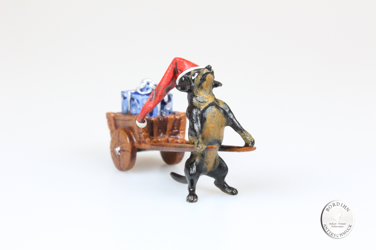 Wiener Bronze Weihnachtsdackel Wagen Paket Kunst Sammler Figur Fritz Bermann