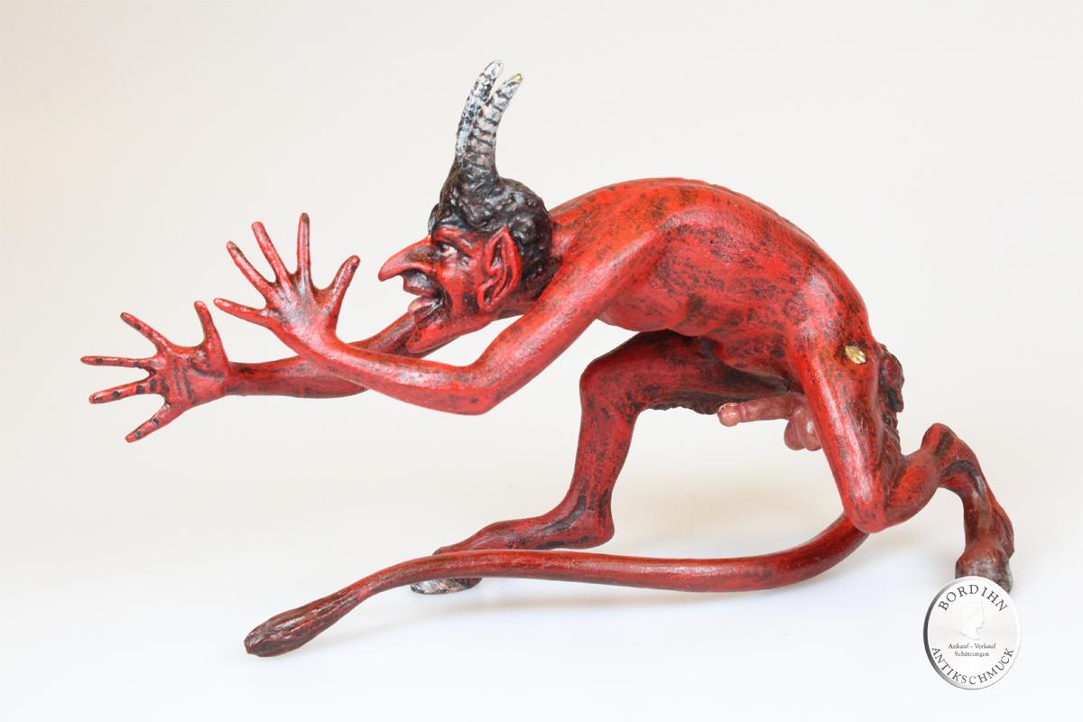 Wiener Bronze Teufel bemalt groß Kunst Sammler Figur Fritz Bermann Erotica