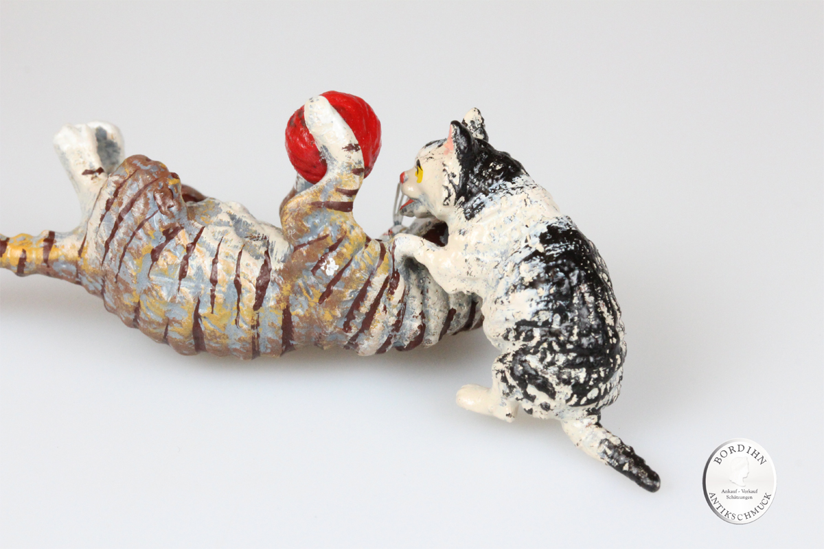 Wiener Bronze Katzenmutter spielend Kind Wolle Kunst Sammler Figur Fritz Bermann